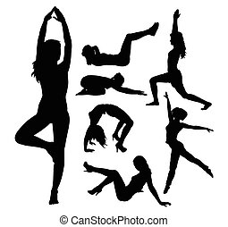 Fit girl sport silhouettes