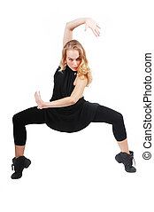 fit healthy woman dancer exercising, practicing, dance