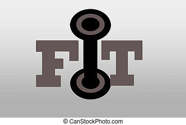 Fit - illustration of the word fit with a barbell as the...