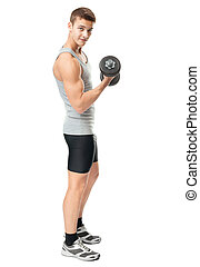 Fit man exercising with dumbbells - Full length portrait of...
