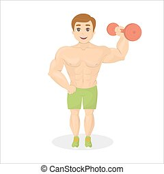 Fit man with dumbell. Body builder with great muscles.