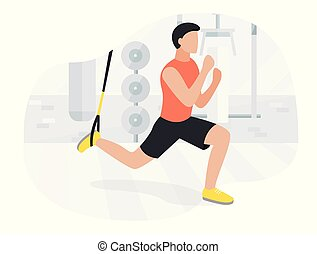Fit man working out on trx doing bodyweight exercises. ...
