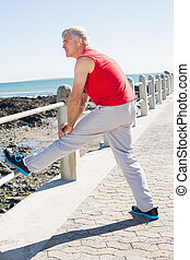 Fit mature man warming up on the pier