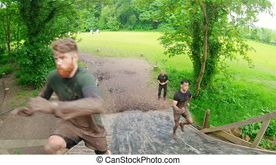 Fit men training over obstacle course 4k - Fit men training ...