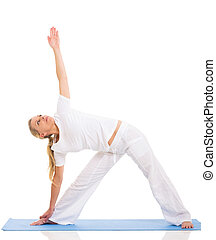fit middle aged woman yoga pose isolated on white background