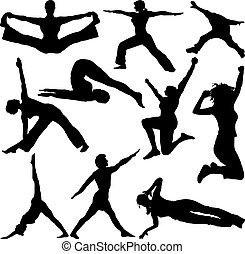 fit people - People doing work outs in silhouette ideal to...