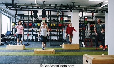 Fit seniors in gym working out, doing box steps. - Beautiful...