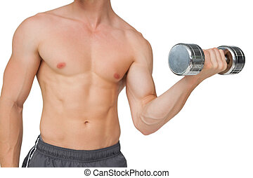 Fit shirtless man lifting dumbbell on white background