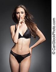 Fit slender sensual lingerie brunette. - Portrait of fit...