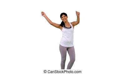 Fit woman dancing