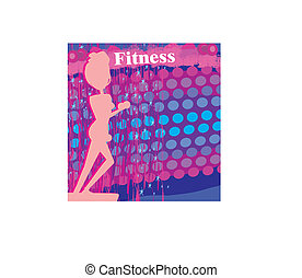 fit woman exercising - silhouette,abstract card