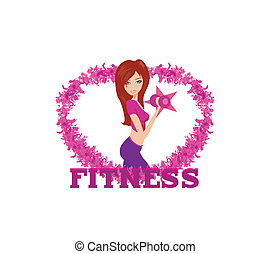 fit woman exercising with two dumbbell weights on her hands