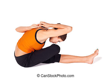 neck stretching stress relief exercise fit woman doing