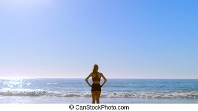 Fit woman standing with hands on hip in the beach 4k - Fit...