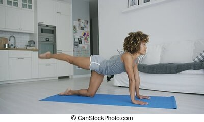 Fit woman working out on mat - Concentrated beautiful model...