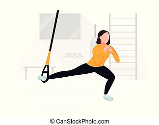 Fit woman working out on trx doing bodyweight exercises. ...