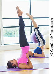 Fit women doing the shoulder stand