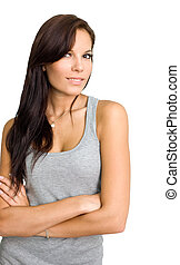 Fit young brunette girl isolated on white background.