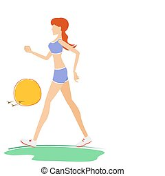 fit young lady - illustration of young woman walking fast