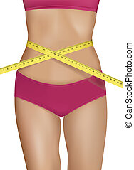 Fit young woman body with measured waistline. Concept of...