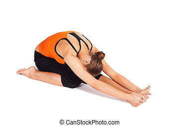 woman practicing yoga asana woman doing first stage of