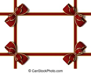 fita, bow., presente, vermelho