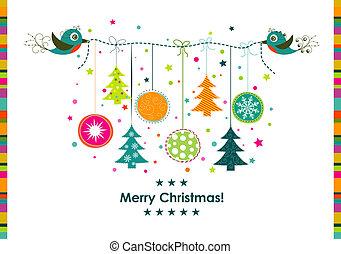 fita, cartão, saudação, vetorial, modelo, natal
