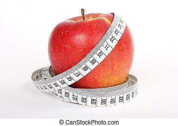 fita, conceito, maçã, dieta, medida