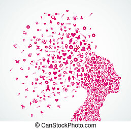 fita consciência câncer peito, mulher, cabeça, composition.