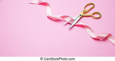fita cor-de-rosa, opening., ouro, corte, fundo, grandioso, tesouras, cetim