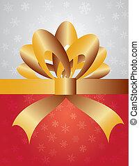 fita, embrulhando, presente natal, arco