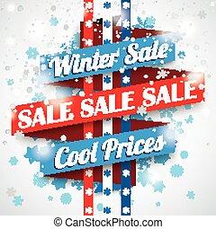 fita, inverno, venda, bokeh, snowflakes