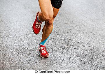 fita, kinesio, macho, azul, corredor, pernas
