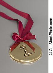 fita, medalha, campeão, ouro, vermelho