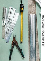 fita, metal, tesouras, medida