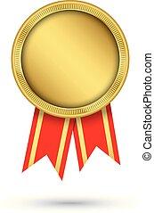 fita, ouro, ilustração, vetorial, medalha, vermelho