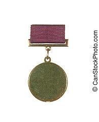 fita, ouro, isolado, experiência., branca, medalha, redondo, vermelho