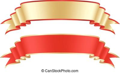 fita, ouro, vermelho