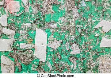 fita, parede, antigas, resíduo, billboard