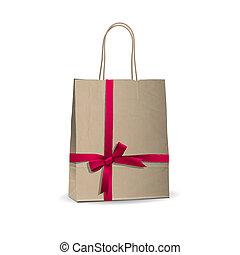 fita, saco, amarrada, marrom, cor-de-rosa, shopping, vazio