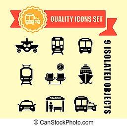 fita, transporte, vermelho, ícones