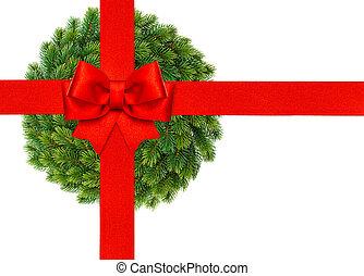 fita vermelha, arco, com, grinalda natal, isolado, branco