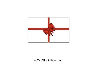 fita vermelha, cartão, arco presente