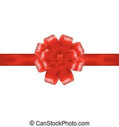 fita vermelha, com, arco, ligado, um, branca, experiência., vetorial, illustration.