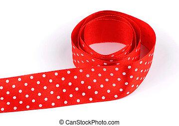 fita vermelha, com, branca, pontos polka