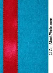 fita vermelha, ligado, tecido azul, fundo, com, cópia, space.