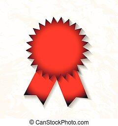 fita, vetorial, emblema, vermelho, distinção