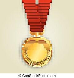 fita, vetorial, medalha, vermelho, ouro