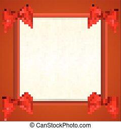 fitas, arco, branco vermelho, lugar, texto