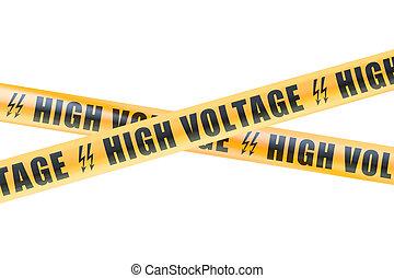 fitas, barreira, alto, fazendo, voltagem, 3d